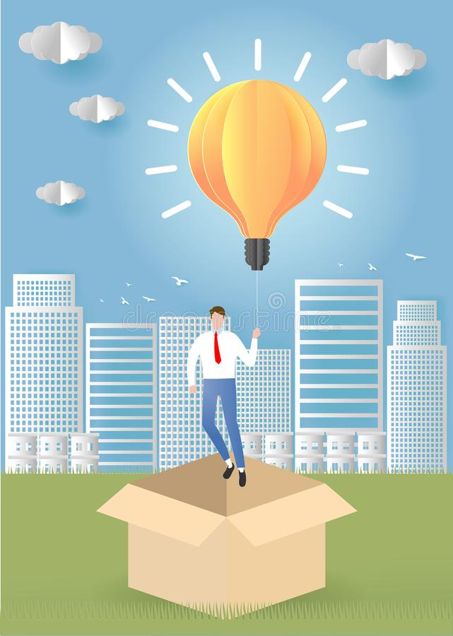 Think outside the box business concept. businessman having unieque creative idea for solution. Businessman flying with light bulb. stock illustration