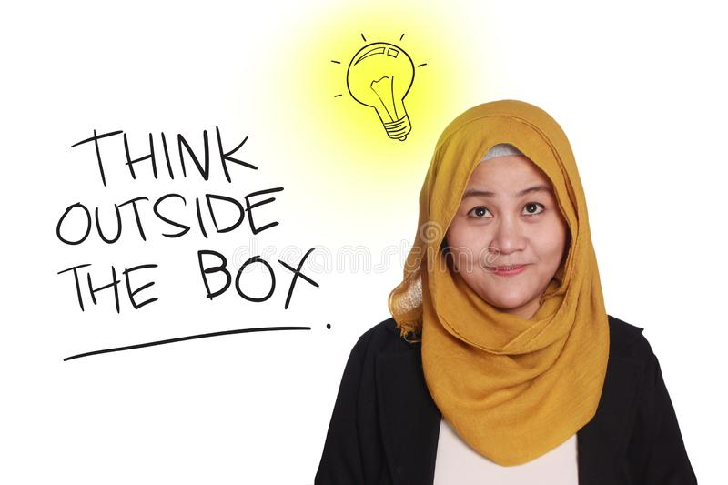 Think Outside The Box, Motivational Words Quotes Concept. Think Outside The Box, business motivational inspirational quotes, words typography lettering concept stock images