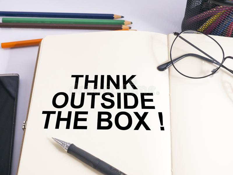Think Outside The Box, Motivational Words Quotes Concept. Think Outside The Box, business motivational inspirational quotes, words typography lettering concept royalty free stock photo