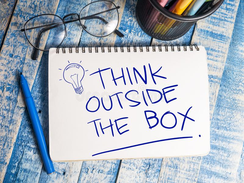 Think Outside The Box, Motivational Words Quotes Concept. Think Outside The Box, business motivational inspirational quotes, words typography lettering concept royalty free stock image