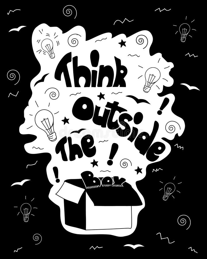 Download think outside the box calligraphy black and white inspirational motivational poster stock vector
