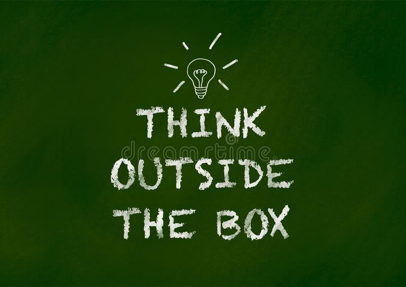 Think outside the box on chalkboard vector illustration
