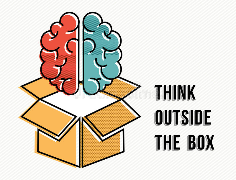 Think outside the box concept with brain design royalty free illustration