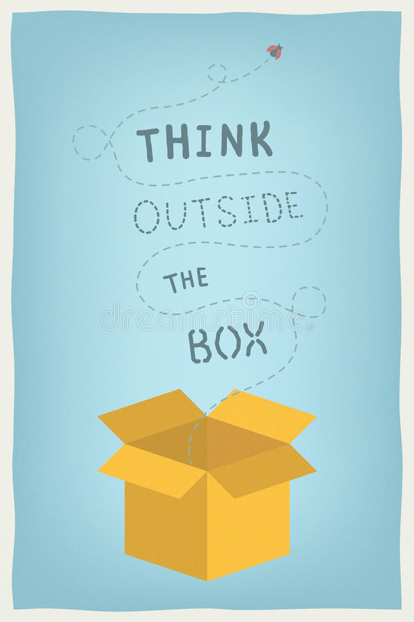 Think outside the box concept royalty free illustration
