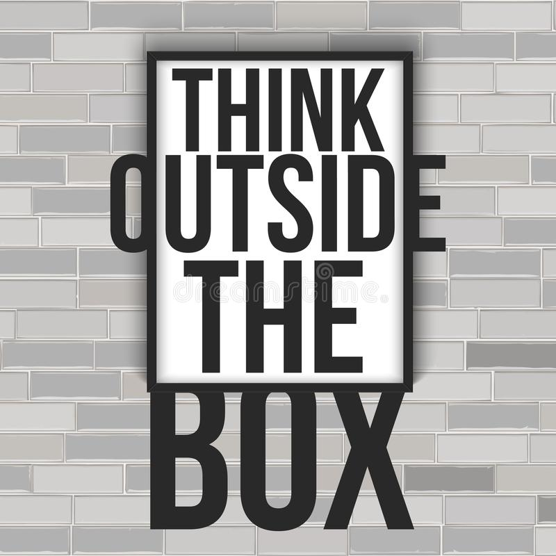 Think outside the box concept with frame on the brick wall. vector illustration isolated on white background. Think outside the box concept with frame on the vector illustration
