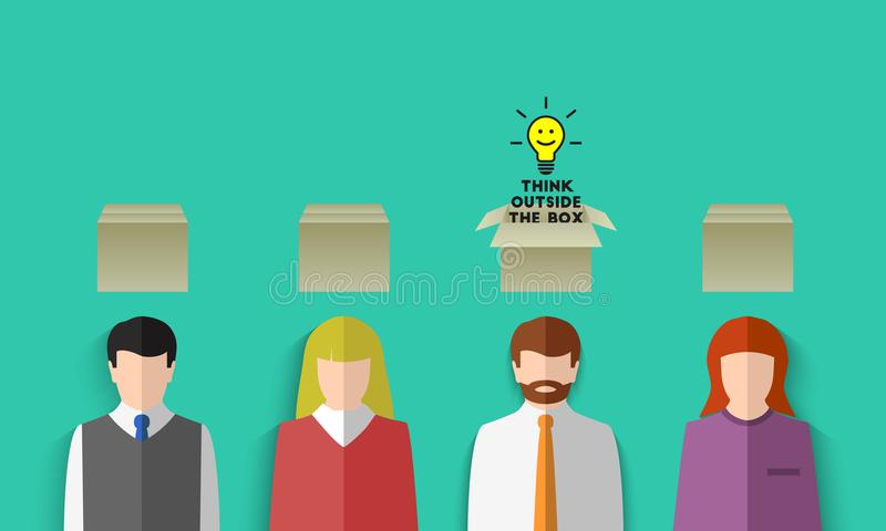Think outside the box concept stock illustration