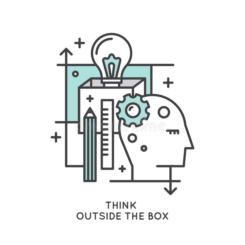 Think Outside the Box Concept , Imagination, Smart Solution, Creativity and Brainstorm stock illustration