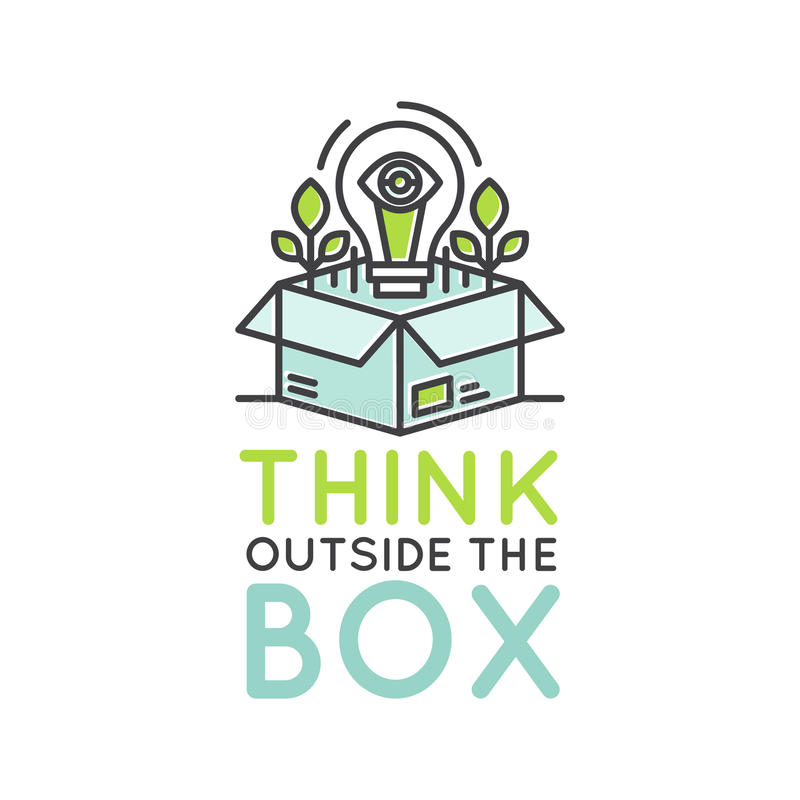Think Outside the Box Concept , Imagination, Smart Solution, Creativity and Brainstorming Collaboration vector illustration