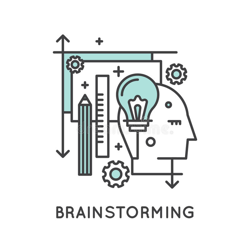 Think Outside the Box Concept , Imagination, Smart Solution, Creativity and Brainstorming royalty free illustration