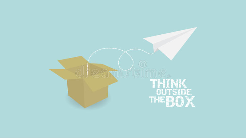 Think Outside Of Box concept. paper palne and paper box stock illustration