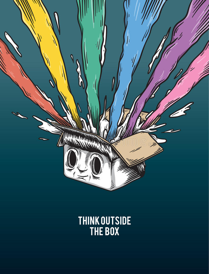 Think Outside The Box Creative Motivation Concept. A box with many color coming out vector illustration