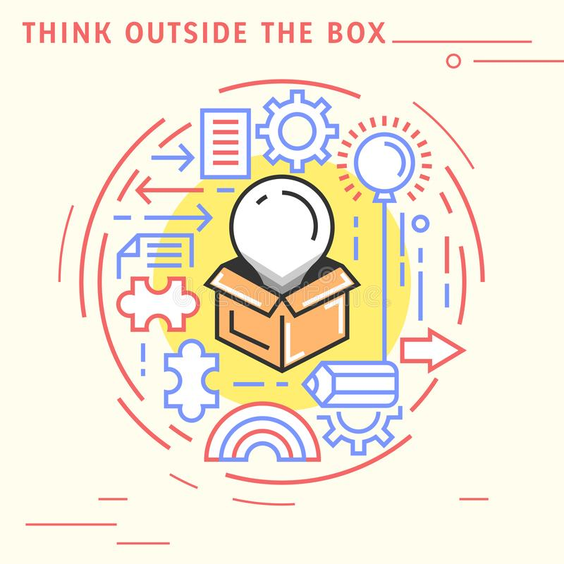 Think outside the box flat line design concept. Playful and modern illustration for content and education. Playful and modern illustration for content and vector illustration