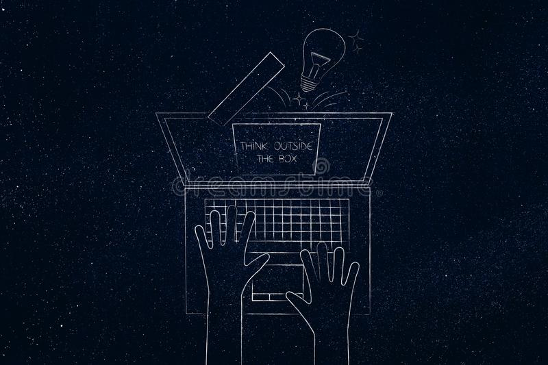 Think outside the box icon with light bulb popping out of laptop. Screen from above, concept of being unique and unconventional royalty free stock images