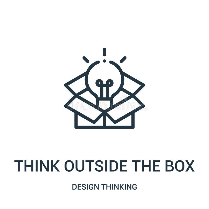 Think outside the box icon vector from design thinking collection. Thin line think outside the box outline icon vector. Illustration. Linear symbol for use on royalty free illustration
