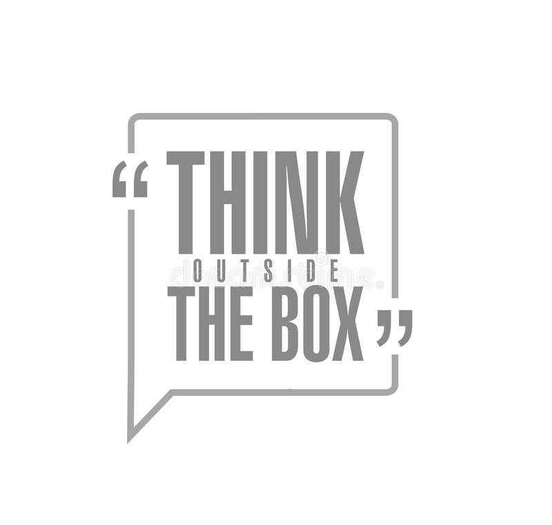 think outside the box line quote message concept vector illustration