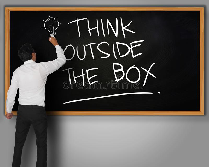 Think Outside The Box, Motivational Words Quotes Concept. Think Outside The Box, business motivational inspirational quotes, words typography lettering concept royalty free illustration