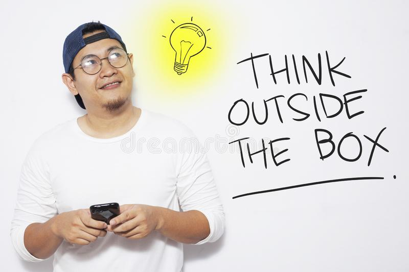 Think Outside The Box, Motivational Words Quotes Concept. Think Outside The Box, business motivational inspirational quotes, words typography lettering concept stock illustration