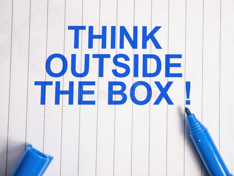Think Outside The Box, Motivational Words Quotes Concept. Think Outside The Box, business motivational inspirational quotes, words typography lettering concept royalty free stock photos