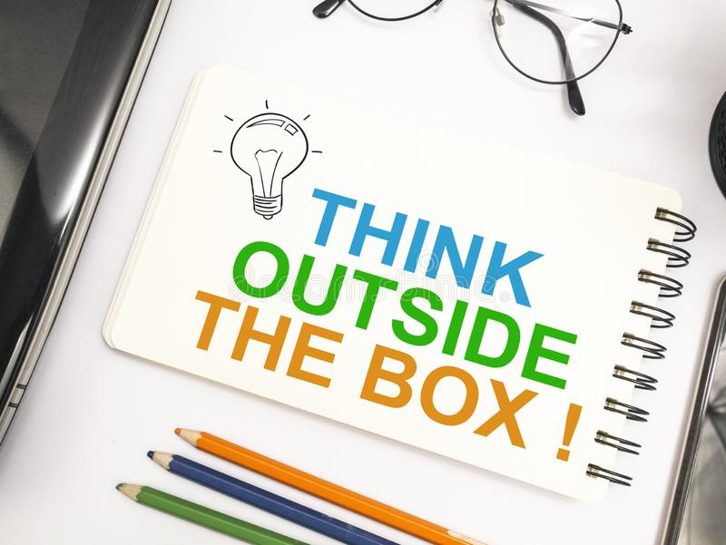 Think Outside The Box, Motivational Words Quotes Concept. Think Outside The Box, business motivational inspirational quotes, words typography lettering concept royalty free stock images