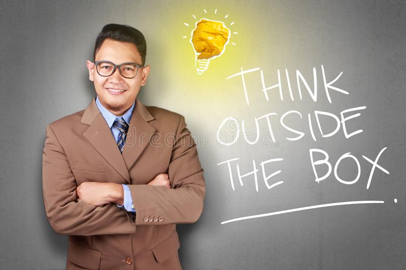 Think Outside The Box, Motivational Words Quotes Concept. Think Outside The Box, business motivational inspirational quotes, words typography lettering concept stock image
