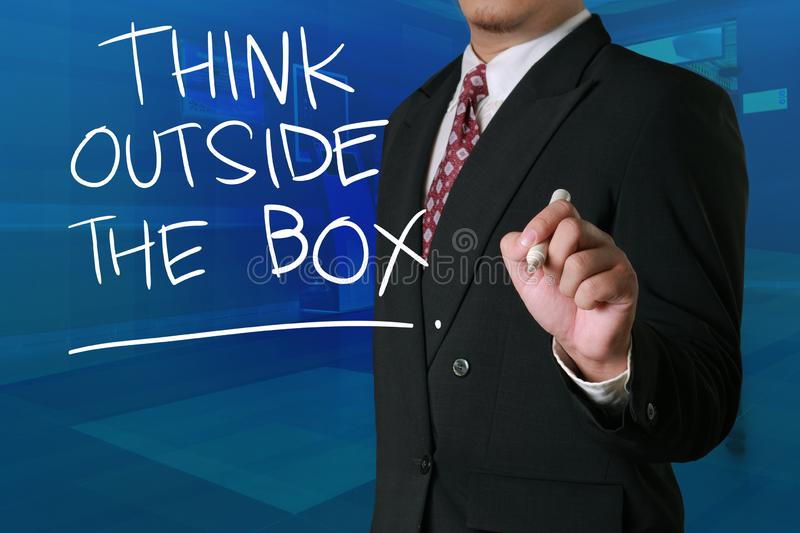 Think Outside The Box, Motivational Words Quotes Concept. Think Outside The Box, business motivational inspirational quotes, words typography lettering concept stock photos