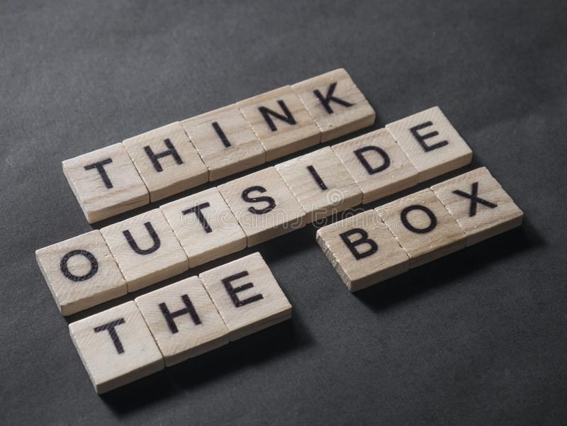 Think Outside The Box, Motivational Words Quotes Concept. Think Outside The Box, business motivational inspirational quotes, words typography lettering concept royalty free stock photography