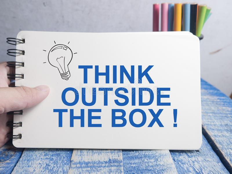 Think Outside The Box, Motivational Words Quotes Concept. Think Outside The Box, business motivational inspirational quotes, words typography lettering concept stock photo