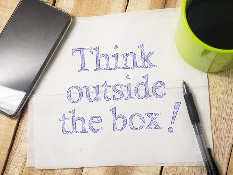 Think outside the Box, Motivational Words Quotes Concept stock images