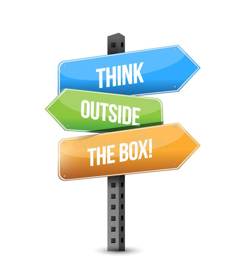 think outside the box multiple destination color street sign stock illustration