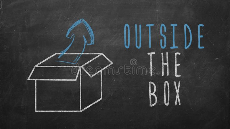 Think outside the box. Outside the box words with drawn box and arrow on blackboard - business concept of getting out of comfort zone stock illustration