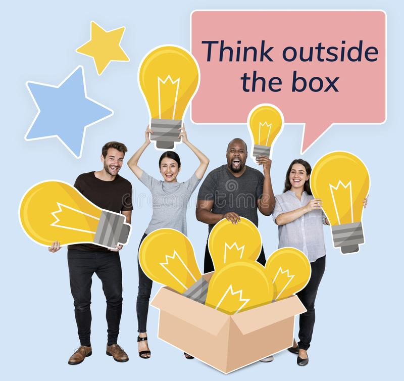 Creative people thinking outside of the box royalty free stock photography