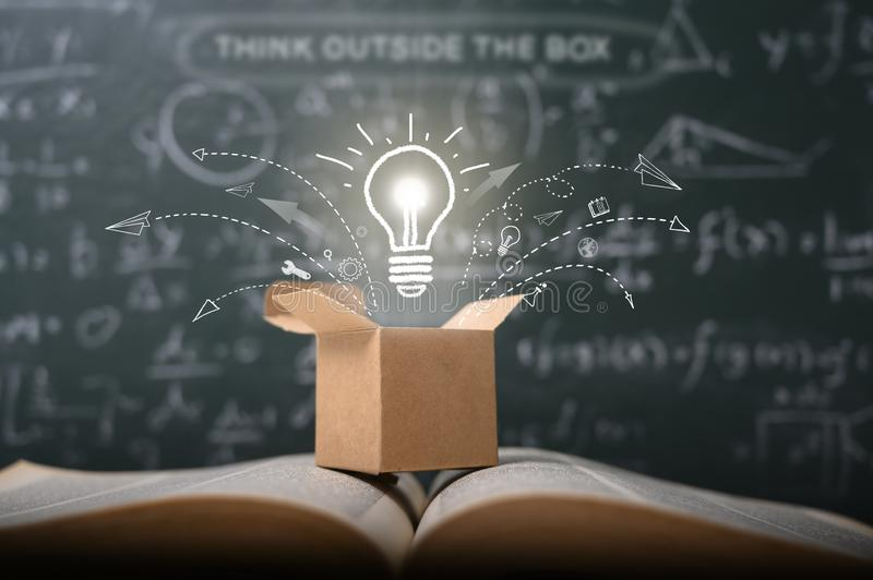 Think outside the box on school green blackboard . startup  education concept. creative idea. leadership royalty free stock photo