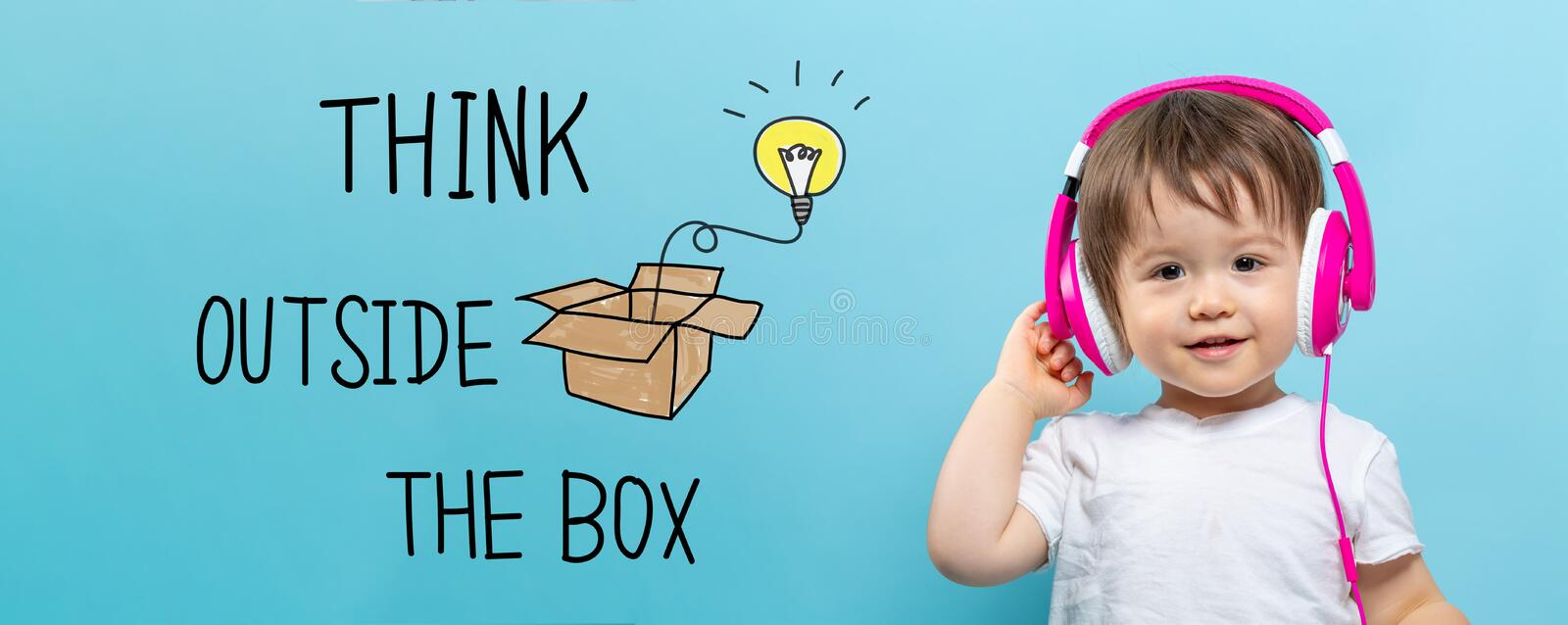 Think outside the box with toddler boy with headphones royalty free illustration