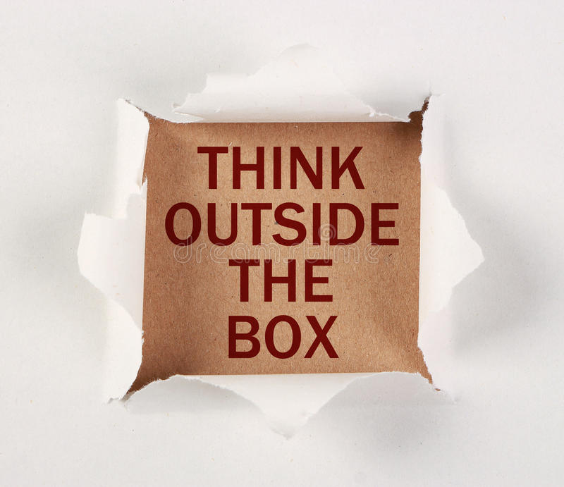 Think Outside The Box Torn Paper royalty free stock photos