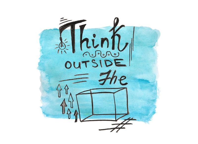 Think outside the box - watercolor painting business quote on blue background, calligraphy text royalty free illustration