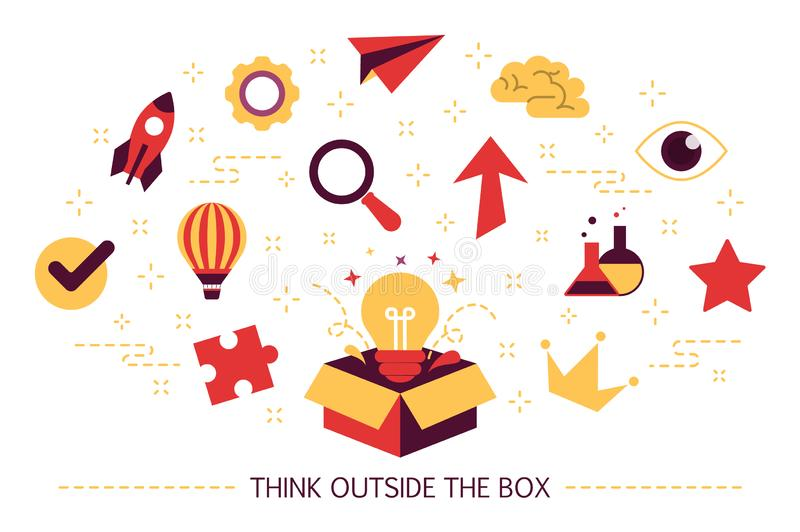 Think outside the box web banner. Creative thinking. Think outside the box web banner. Idea of creative thinking and innovation. Brainstorm and creativity. Set vector illustration