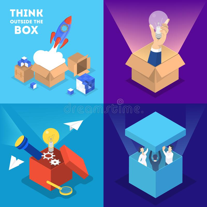 Think outside the box web banner set. stock illustration