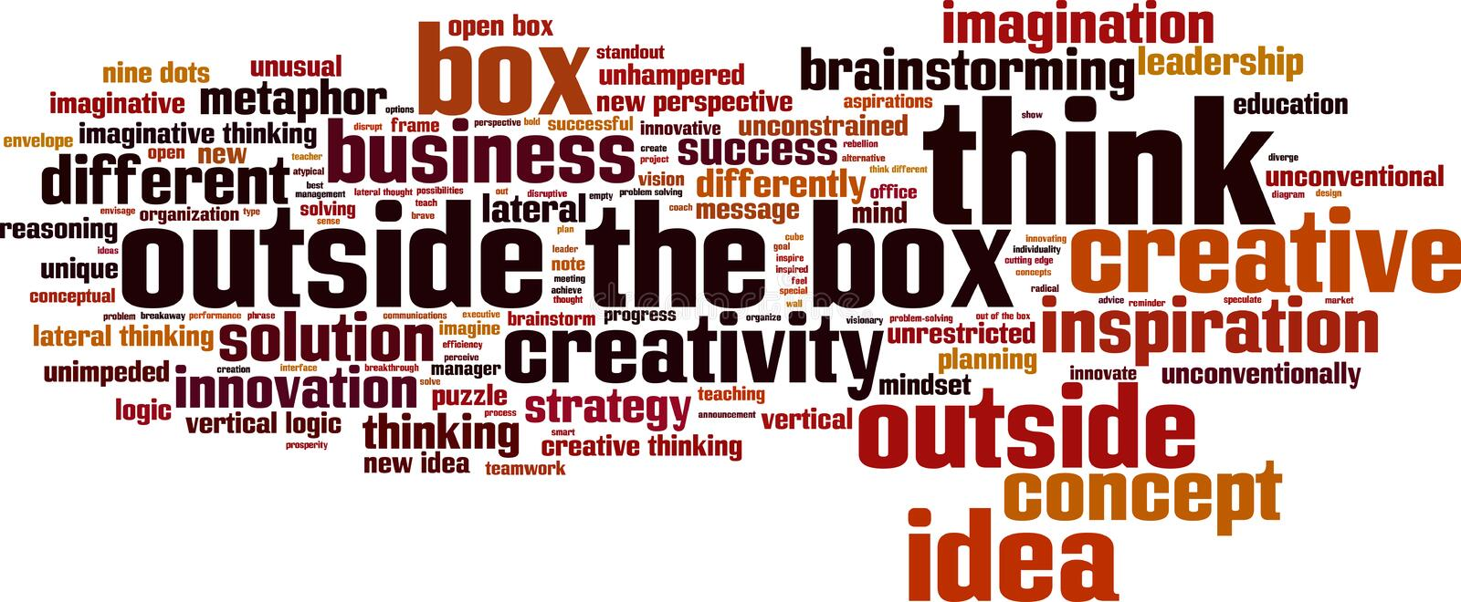 Think outside the box word cloud. Concept. Vector illustration vector illustration