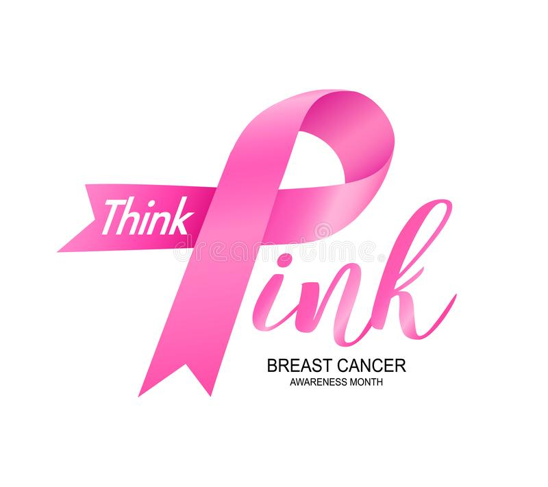 Breast Cancer Awareness Month Campaign design with pink ribbon. Think pink, icon design. Vector illustration isolated on white background stock photos