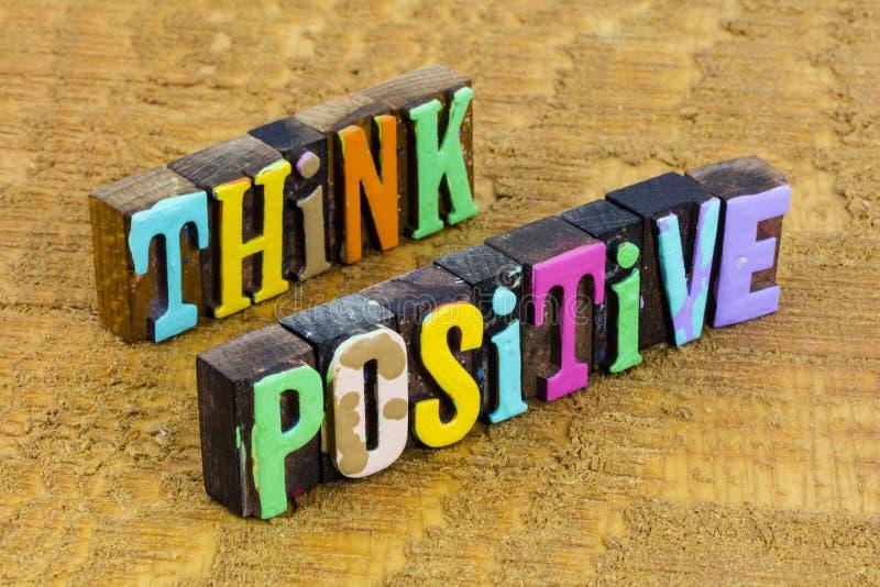 Think positive happy can do attitude achieve success stock photo