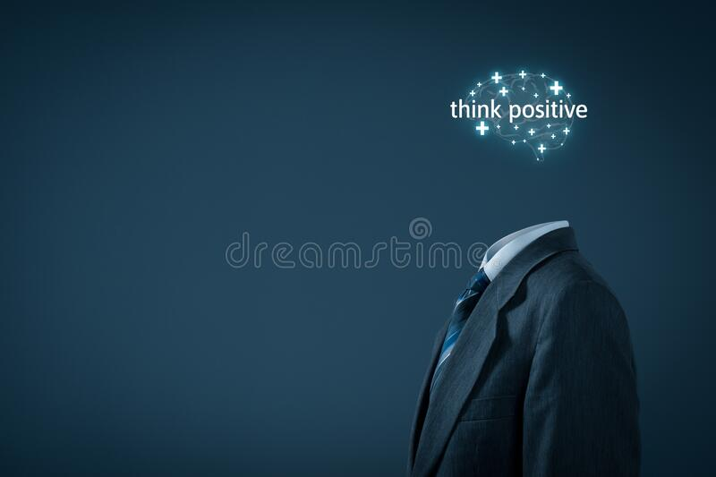 Think positive motivation concept. Coach motivate to think positive concept. Businessman, plus signs in shape of brain and text think positive stock photo
