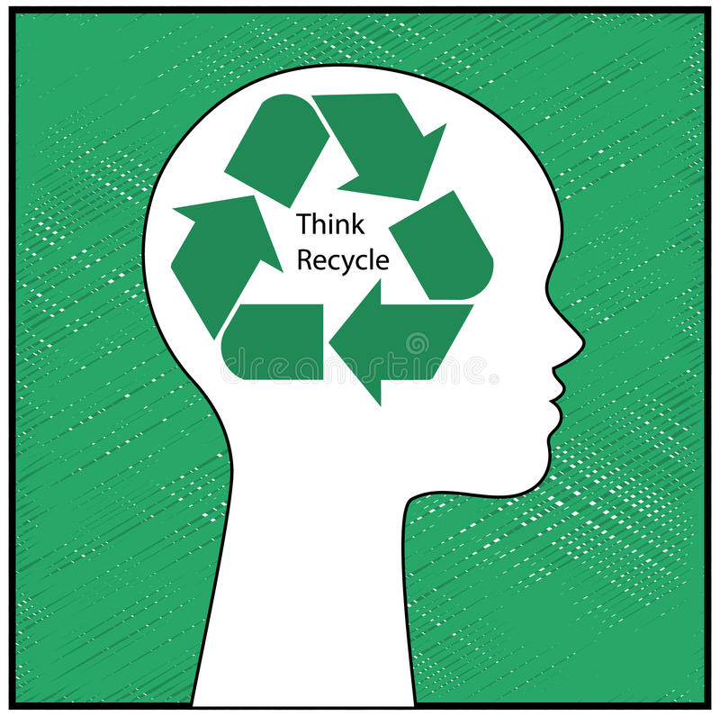 Think Recycle. Womans profile with recycle symbol superimposed and organic fabric behind royalty free illustration