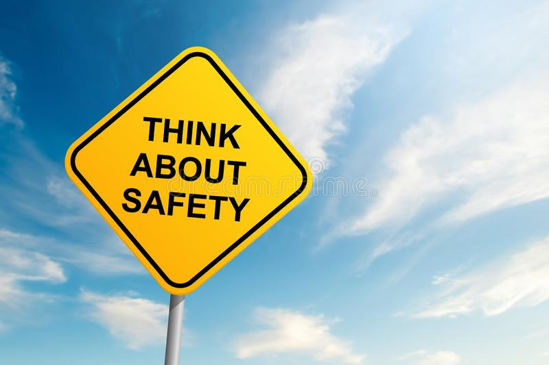 Think about safety road sign with blue sky and cloud background royalty free stock photo