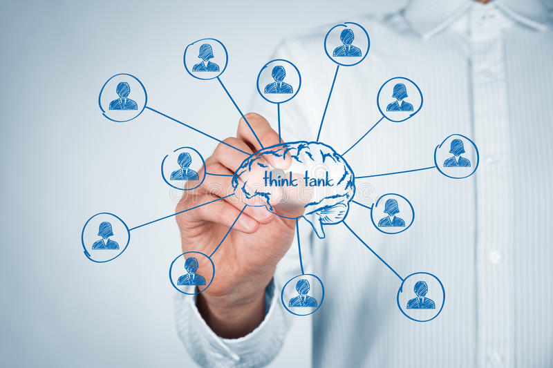 Think tank. Team concept. Think about human resources or customers. Brain and personnel (team) of  organization royalty free stock images