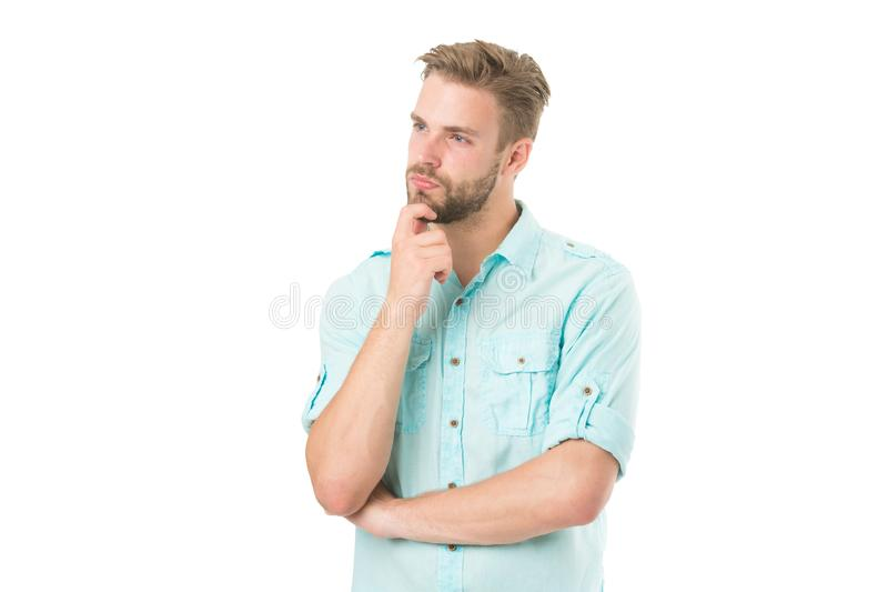 Think to solve. Guy thoughtful touches his chin. Thoughtful mood concept. Man with beard thinking. Think about solution. Close to solution. Man with bristle royalty free stock image