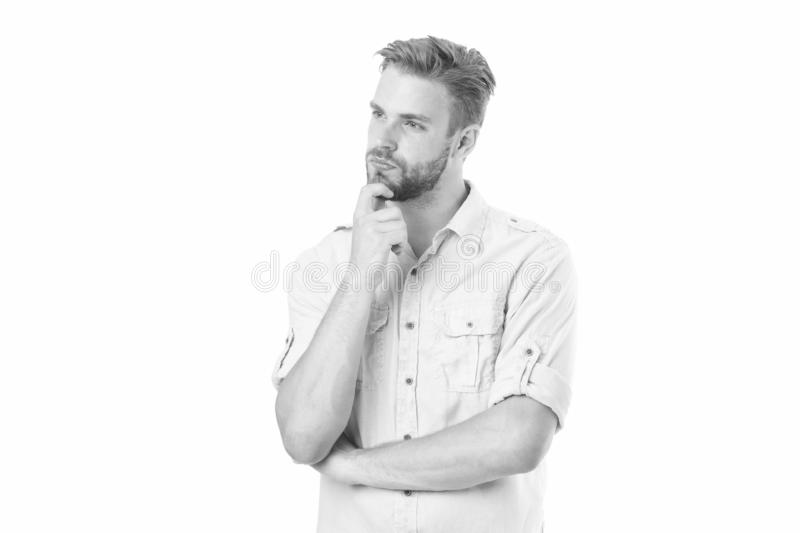 Think to solve. Guy thoughtful touches his chin. Thoughtful mood concept. Man with beard thinking. Think about solution. Close to solution. Man with bristle stock photos