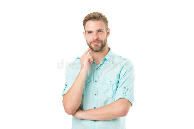 Think to solve. Guy thoughtful touches his chin. Thoughtful mood concept. Think about solution. Close to solution. Man. With bristle smiling face thinking white stock photos