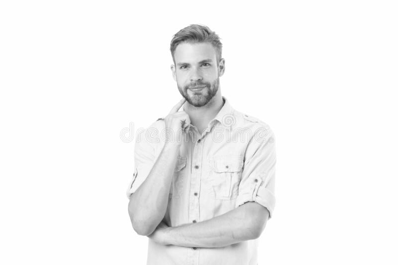 Think to solve. Guy thoughtful touches his chin. Thoughtful mood concept. Think about solution. Close to solution. Man. With bristle smiling face thinking white royalty free stock photo