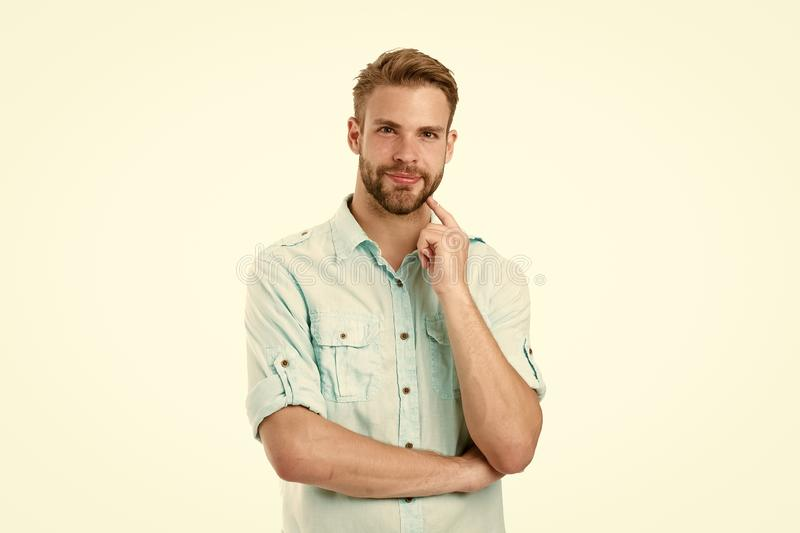Think to solve. Guy thoughtful touches his chin. Thoughtful mood concept. Think about solution. Close to solution. Man royalty free stock images