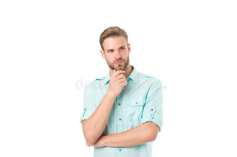 Think to solve. Man with bristle serious face thinking white background. Guy thoughtful touches his chin. Thoughtful royalty free stock photography